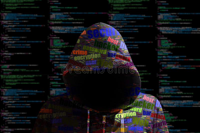 Hoody黑客cybersecurity上色了计算机编码信息秒 库存例证