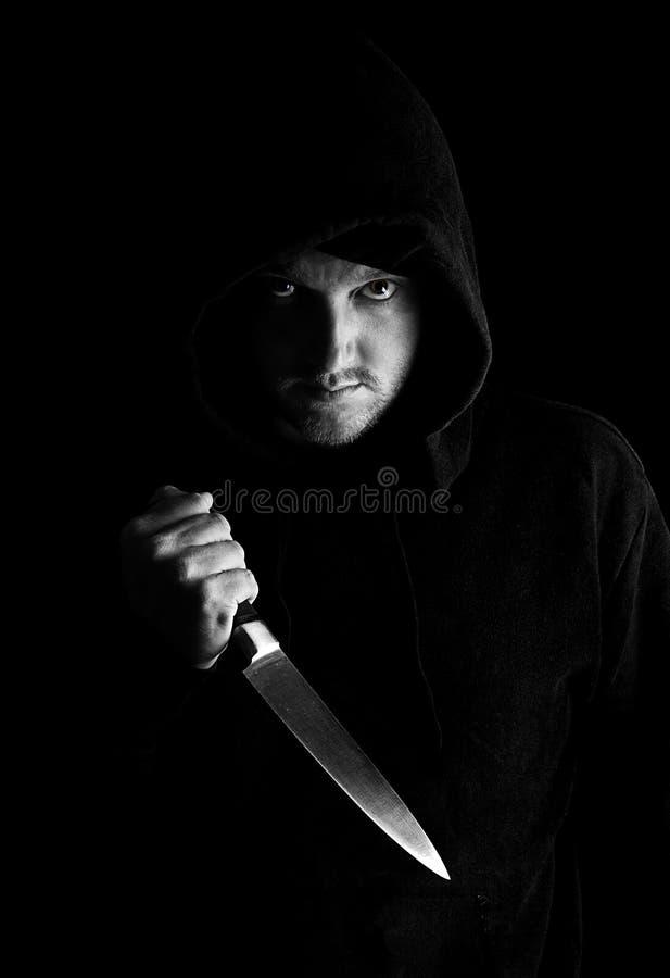 Hoody mit Messer lizenzfreie stockfotografie