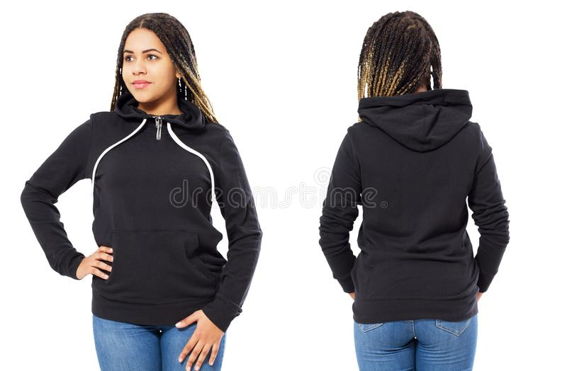 Hoody mock up set front and back view - Afro american girl in stylish empty pullover mockup, hood for logo royalty free stock images