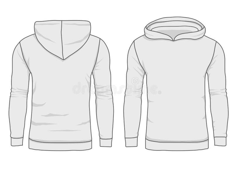 Hoodymanier, sweatshirtmalplaatje De realistische bovenkleding kleedt model voor en achtermening stock illustratie