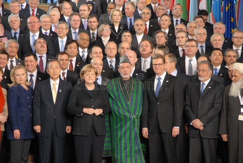 Hoofd afgevaardigden op de Conferentie van Afghanistan stock fotografie