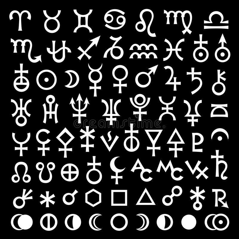 Hoofd Astrologische Tekens en Symbolen grote hoofdreeks royalty-vrije illustratie