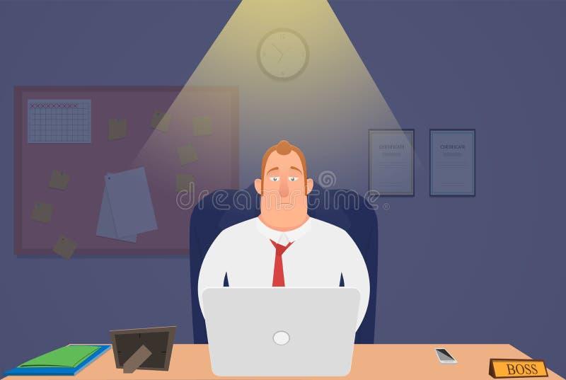 Hoofd bij nachtzitting in het bureau en het werken wordt vermoeid die Illustratie vector illustratie