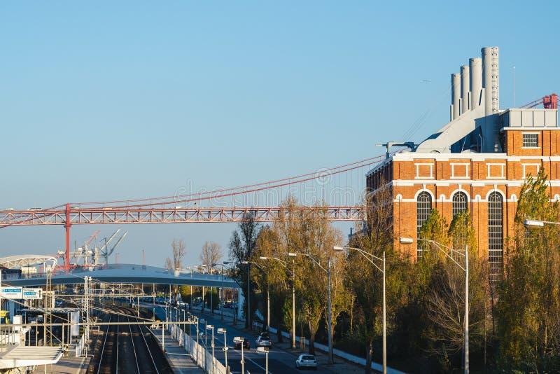 Hoofd Centraal krachtcentrale en station in Belem Lissabon, Portugal royalty-vrije stock foto's