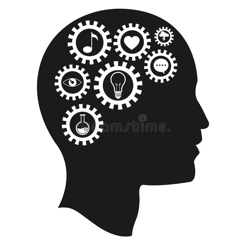 hoofd de intelligentiemedia van hersenentoestellen stock illustratie