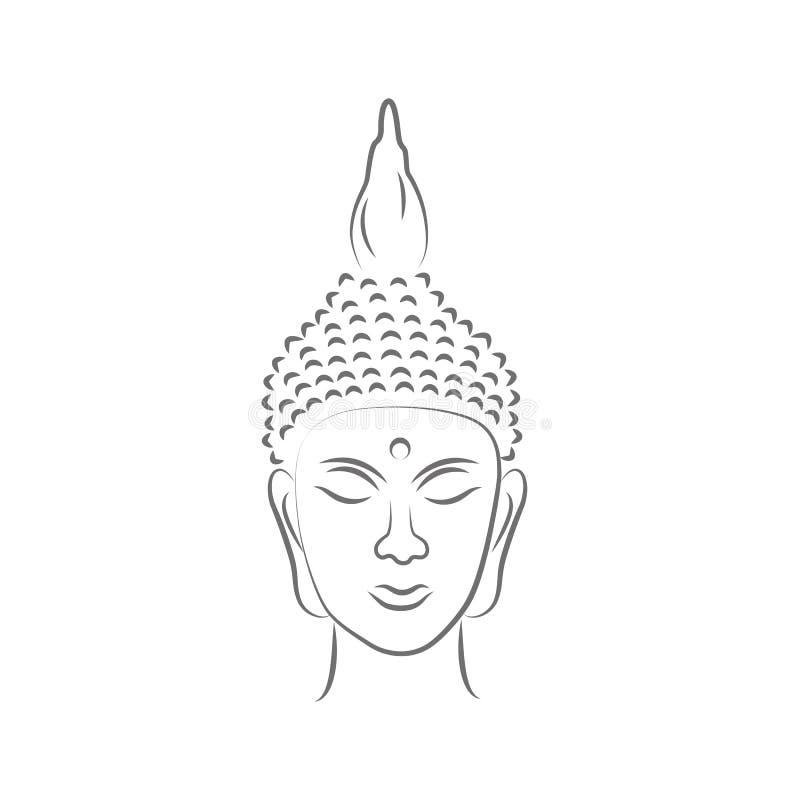 Hoofd de lijntekening van Boedha stock illustratie
