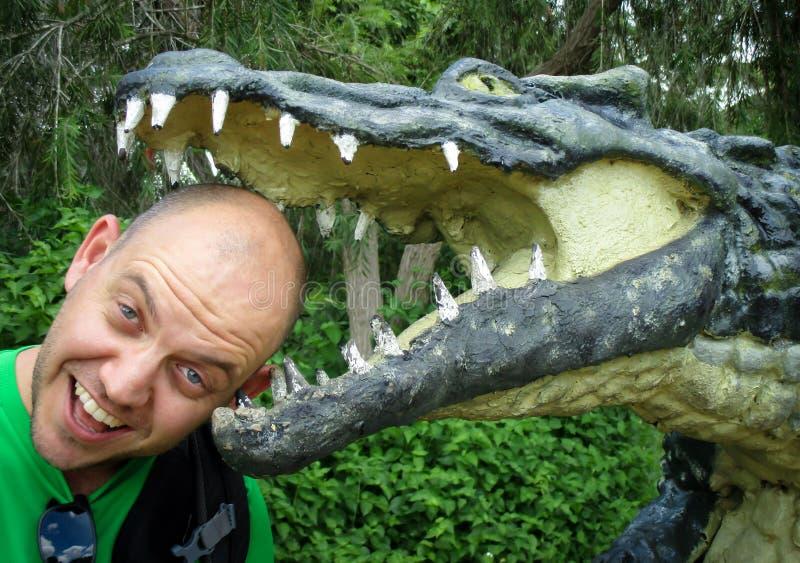 hoofd in een krokodillemond royalty-vrije stock foto