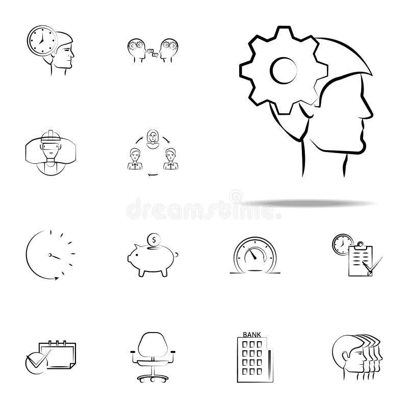 hoofd, geestelijk, meningshand getrokken pictogram Bedrijfsdie voor Web wordt geplaatst en mobiel pictogrammenalgemeen begrip stock illustratie