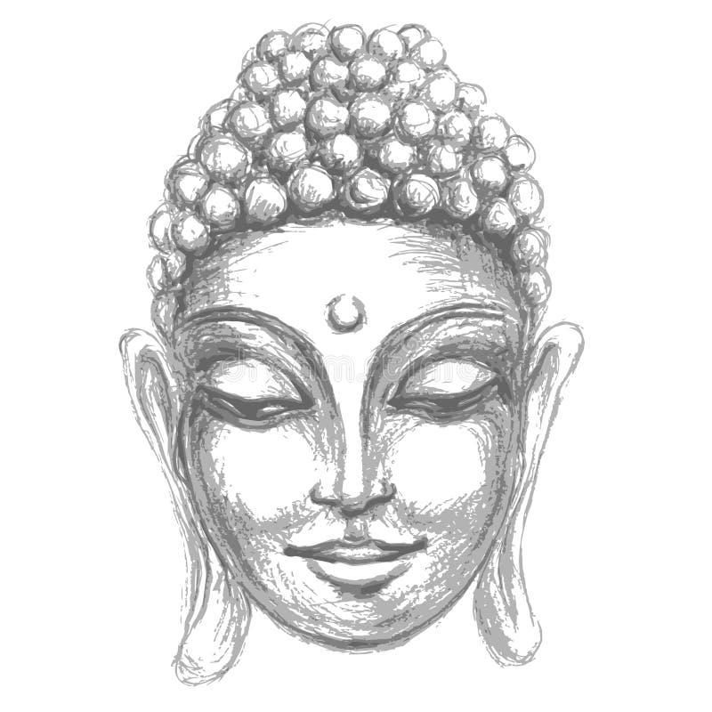 Hoofd Glimlachende Boedha royalty-vrije illustratie