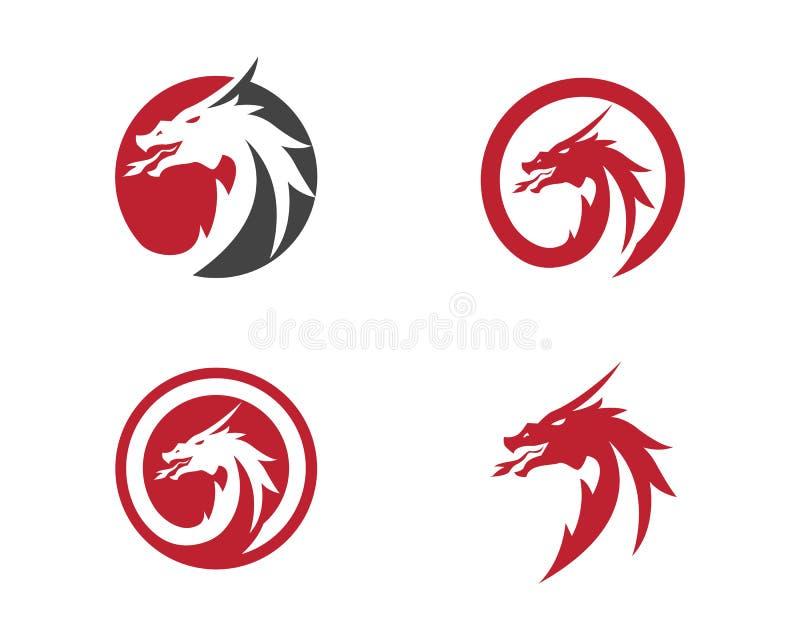 Hoofd het embleemmalplaatje van de draak vlak kleur stock illustratie