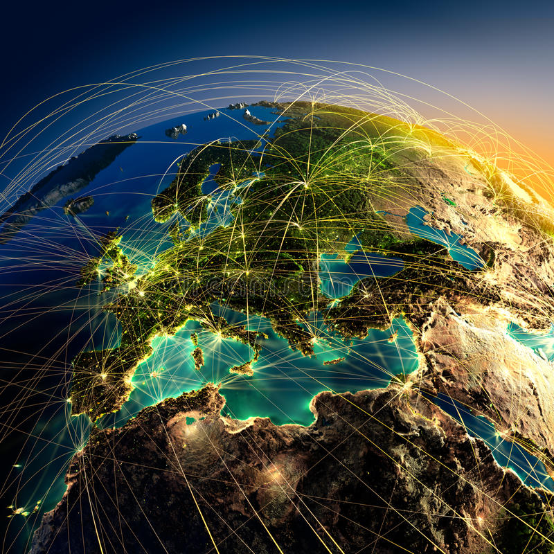 Hoofd luchtroutes in Europa royalty-vrije illustratie