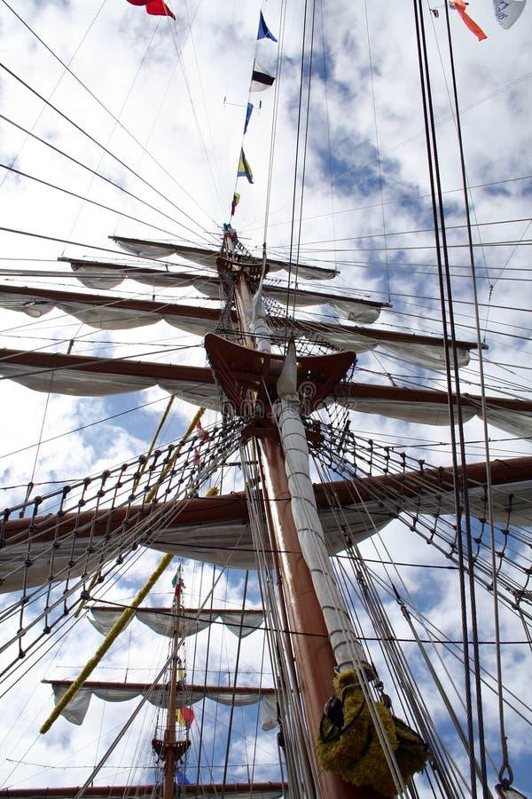 Hoofd mast op piraatschip stock afbeeldingen