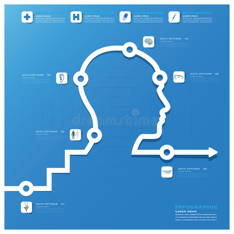 Hoofd Medisch en het Ontwerpmalplaatje van Gezondheidsinfographic stock illustratie