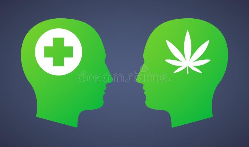 Hoofd met een marihuanablad en een apotheekteken dat wordt geplaatst royalty-vrije stock foto's