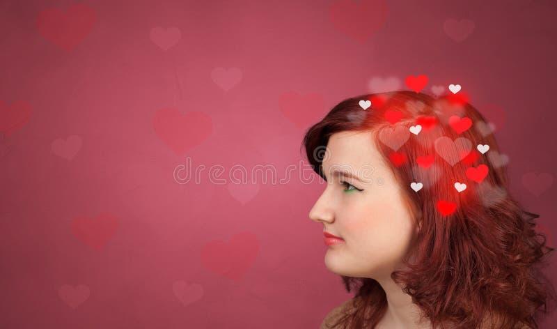 Hoofd met hoogtepunt van liefde royalty-vrije stock afbeeldingen
