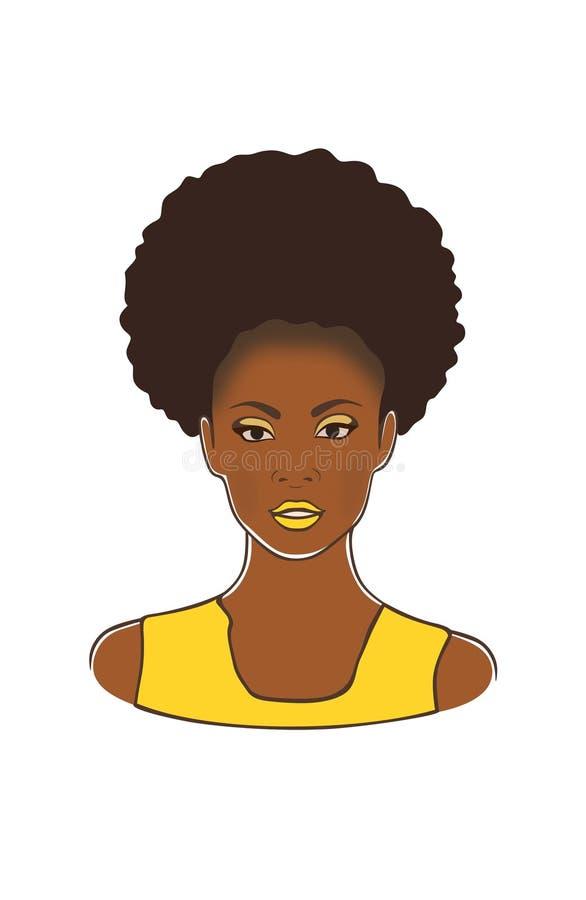 Hoofd van de manier het zwarte Afrikaanse Amerikaanse dame met de krullende staart van de rookwolkponey en gele lippen en kleding vector illustratie