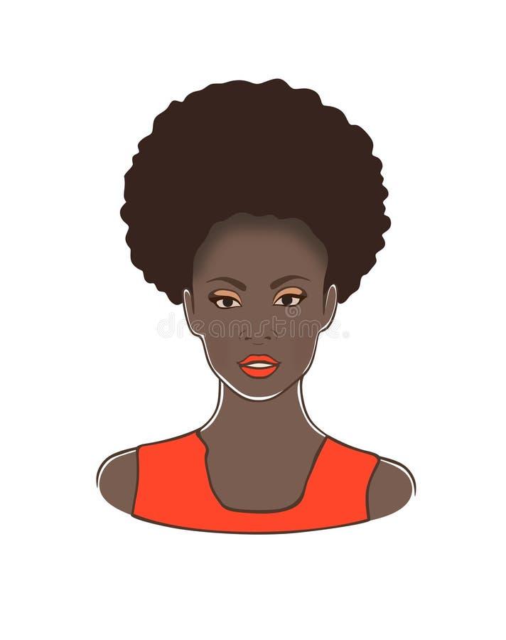 Hoofd van de manier het zwarte Afrikaanse Amerikaanse dame met de krullende staart van de rookwolkponey en oranje lippen en kledi royalty-vrije illustratie