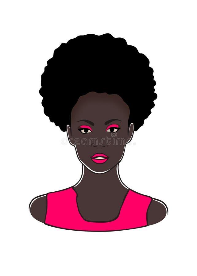 Hoofd van de manier het zwarte Afrikaanse Amerikaanse dame met de krullende staart van de rookwolkponey en roze lippen en kleding royalty-vrije illustratie