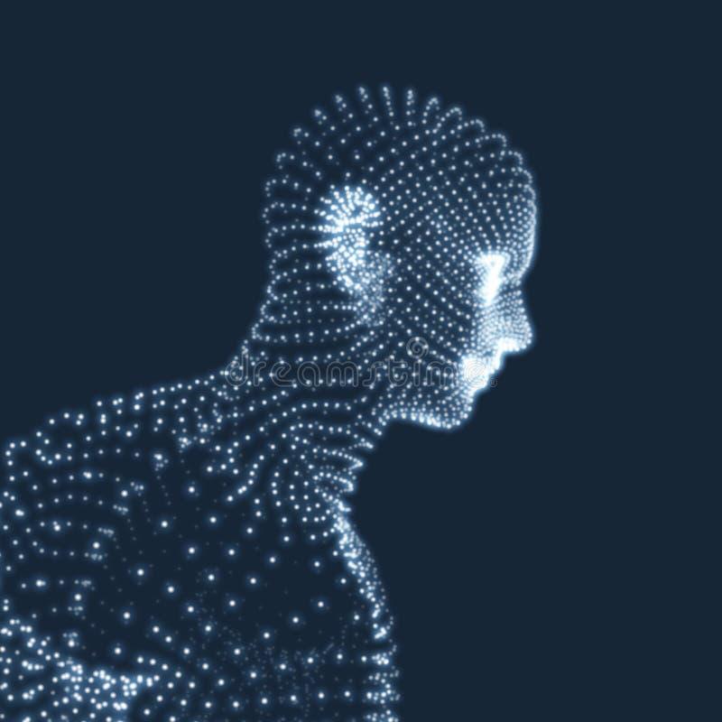 Hoofd van de persoon van een 3d net Het Portret van de meetkundemens stock illustratie