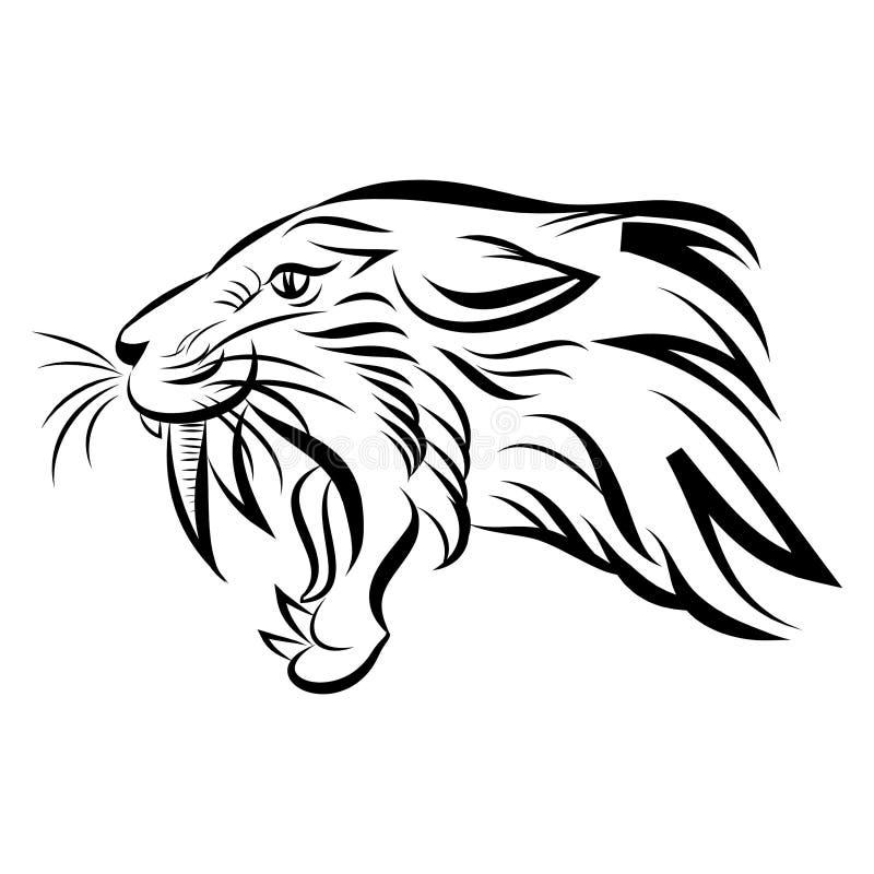 hoofd van de tijger van de sabeltand - vector stock illustratie