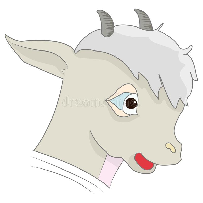 Hoofd van een beeldverhaal grijs lam, op een witte achtergrond stock illustratie