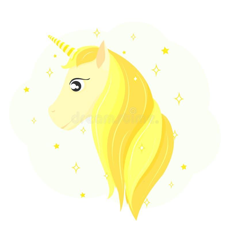Hoofd van een gouden eenhoorn Gouden Paardhaar vector illustratie