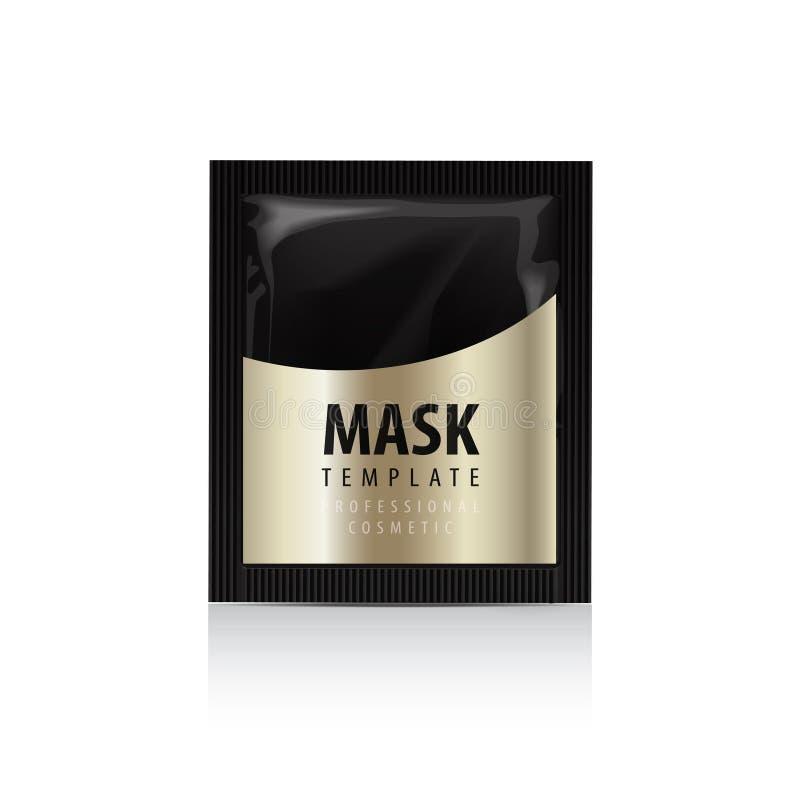 Hoofd van een jonge vrouwenclose-up Schoonheidsmiddelen Gouden Pak Vectorpakketontwerp voor gezichtsmasker stock illustratie