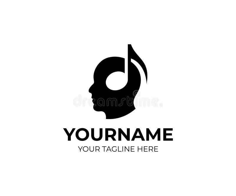 Hoofd van een mens in hoofdtelefoons in de vorm van een muzieknoot, embleemmalplaatje Muziek en correct, vectorontwerp royalty-vrije illustratie