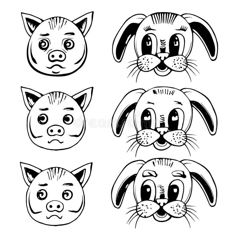 Hoofd van een varken en een konijn stock illustratie