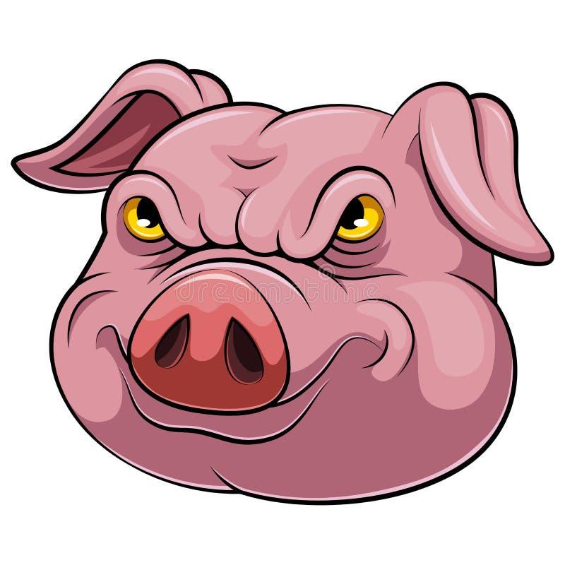 Hoofd van een varkensbeeldverhaal vector illustratie