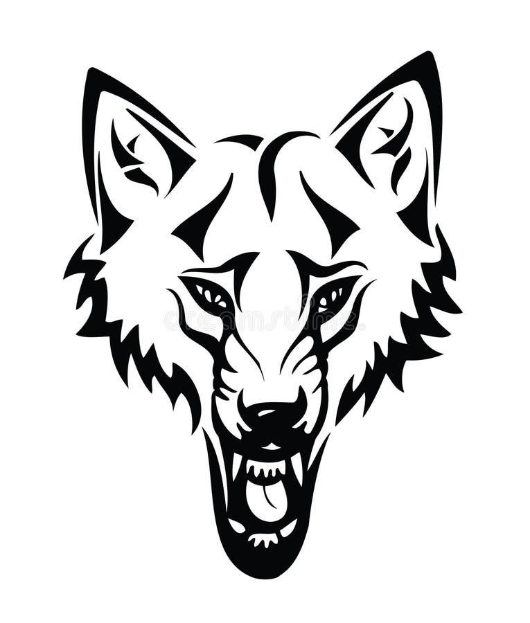 Hoofd van een wolf met stammen vector illustratie