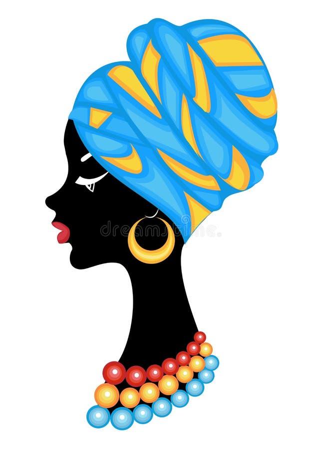 Hoofd van een zoete dame Een heldere sjaal en een tulband werden bevestigd op het hoofd van het Afrikaanse Amerikaanse meisje De  stock illustratie