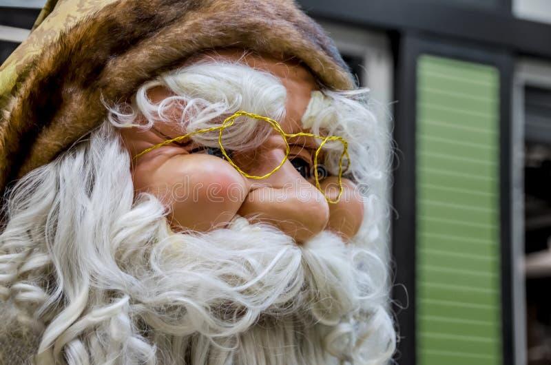 Hoofd van gebaarde Santa Claus stock afbeelding