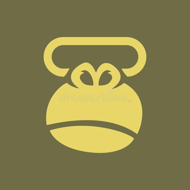 Hoofd van gorilla, embleemaap, verbinding op een t-shirt royalty-vrije illustratie