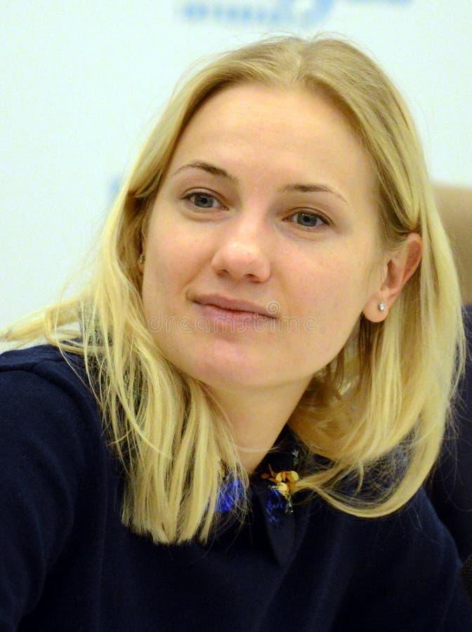Hoofd van het Belangrijkste Ministerie van Sociale Mededelingen van het Gebied Irina Pleshcheva van Moskou stock afbeeldingen