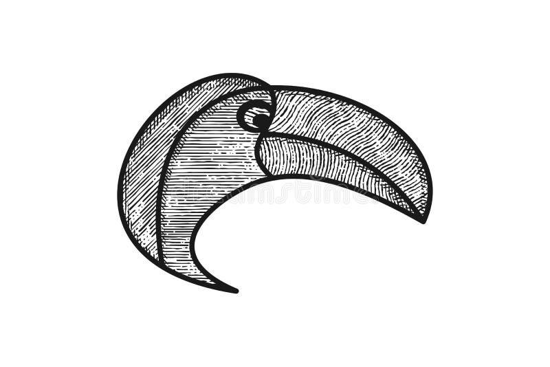 hoofd van het embleemontwerp van aravogels royalty-vrije illustratie