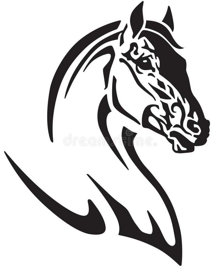 Hoofd van het paard zwart-witte embleem vector illustratie
