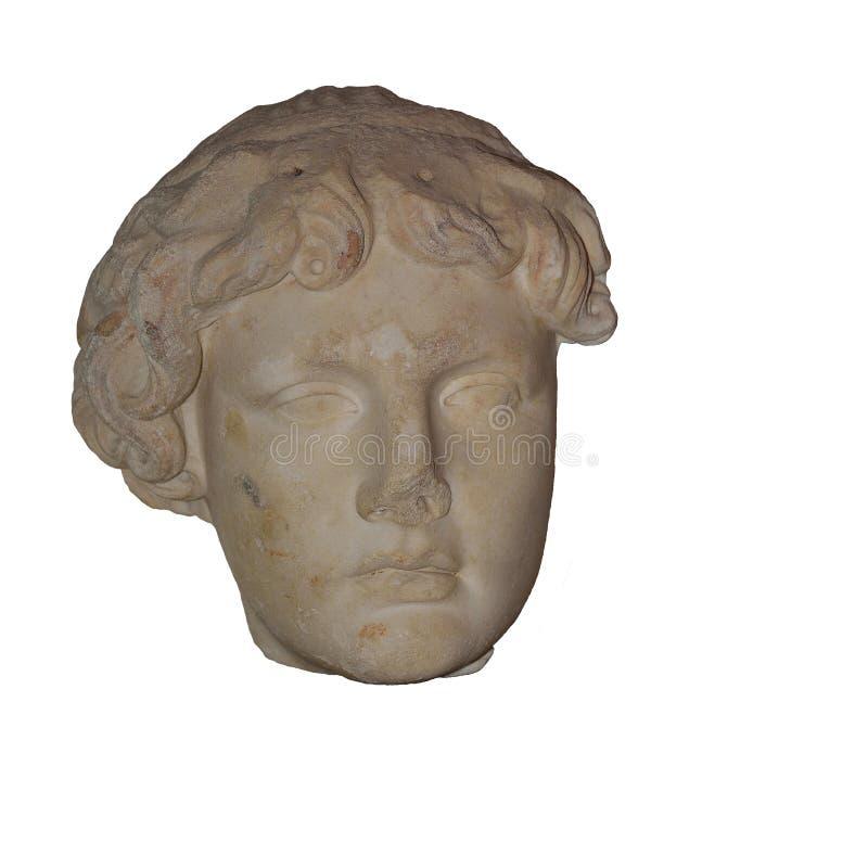 Hoofd van het standbeeld van Apollon stock fotografie