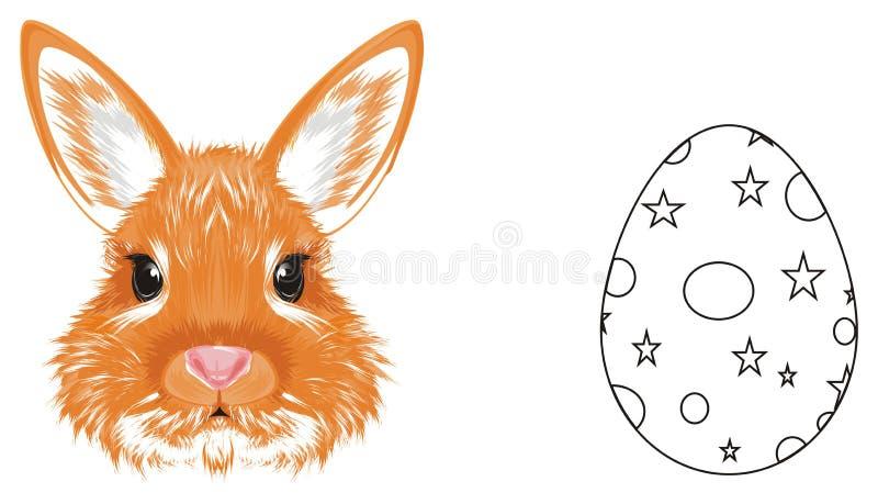 Hoofd van konijn en gekleurd niet ei stock illustratie