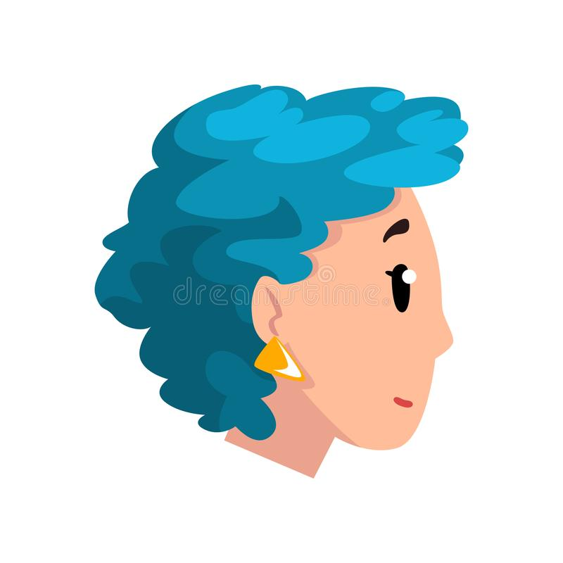 Hoofd van meisje met blauw geverft haar, profiel van jonge vrouw met de vectorillustratie van het manierkapsel op een wit stock illustratie