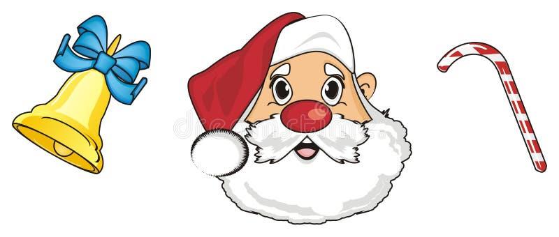Hoofd van santa met voedsel en bal royalty-vrije illustratie