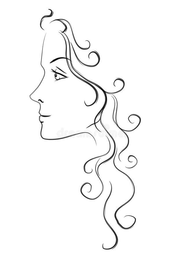Hoofd van Vrouw met Lang Haar royalty-vrije illustratie