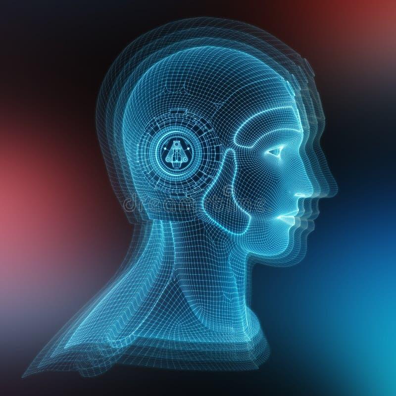 Hoofd vertegenwoordigende de kunstmatige intelligentie van de Wireframed het robotachtige mens 3D teruggeven stock illustratie