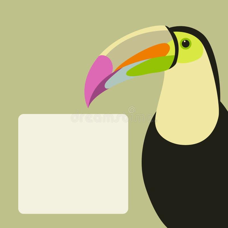 Hoofd vlakke de stijlvoorzijde van de toekan vectorillustratie stock illustratie