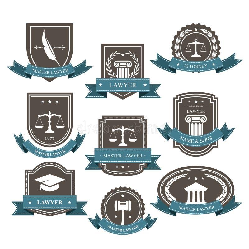 Hoofdadvocaat en procureursemblemen, blazons en kentekens royalty-vrije illustratie