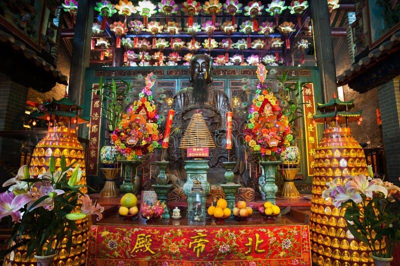 Hoofdaltaar in Pak Tai Temple, Wanchai, Hong Kong royalty-vrije stock fotografie