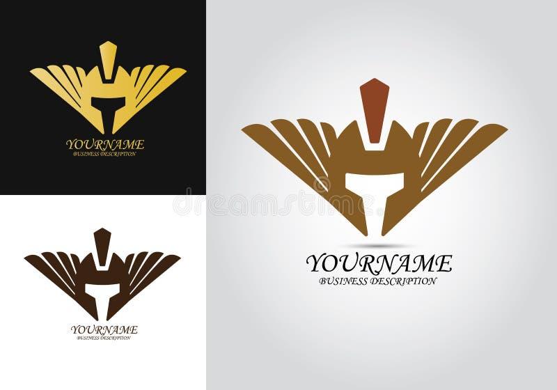Hoofdarmor helmet logo vector illustratie