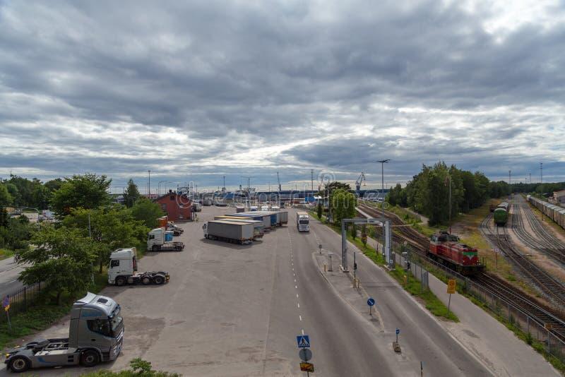 Hoofdartikel 07 06 2018 Hanko Finland, entrence van Haven van Hanko stock afbeeldingen