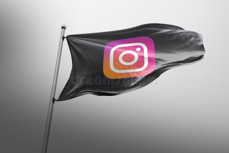 Hoofdartikel van de Instagram photorealistic vlag stock foto