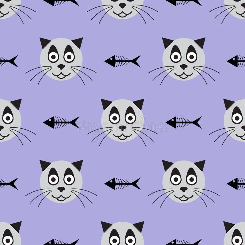 Hoofden van het glimlachen van kat en skeletten van vissen Grappig naadloos patroon Vector illustratie vector illustratie